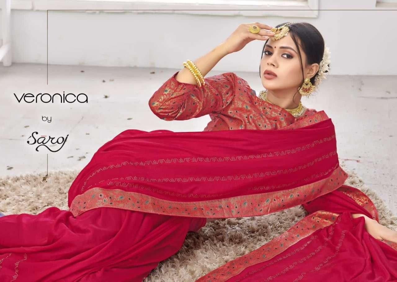 Saroj veronica soft vichitra silk with swaroski work and lace designer sarees collection