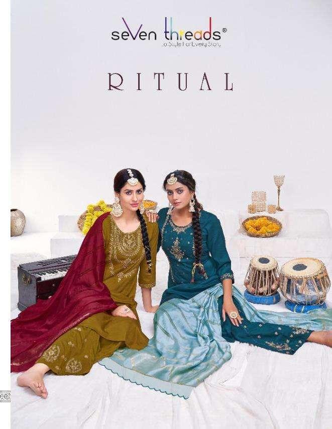 seven threads ritual viscose silk full stitch top bottom with dupatta