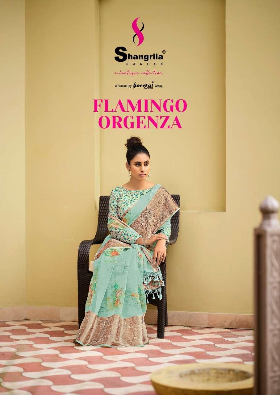 shangrila flamingo orgenza with jequard border sarees wholesale