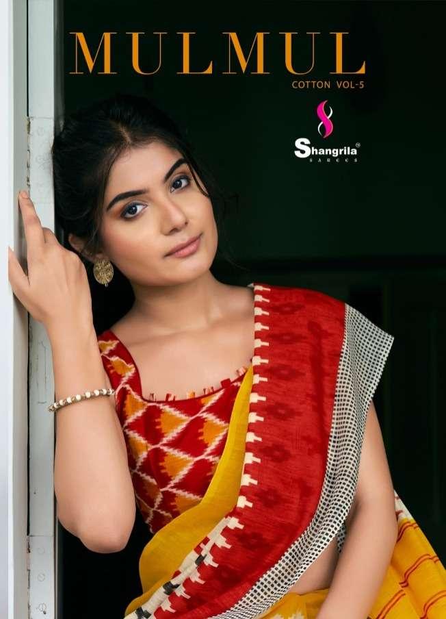 shangrila mulmul cotton vol 5 cotton ikkat print saris wholesaler