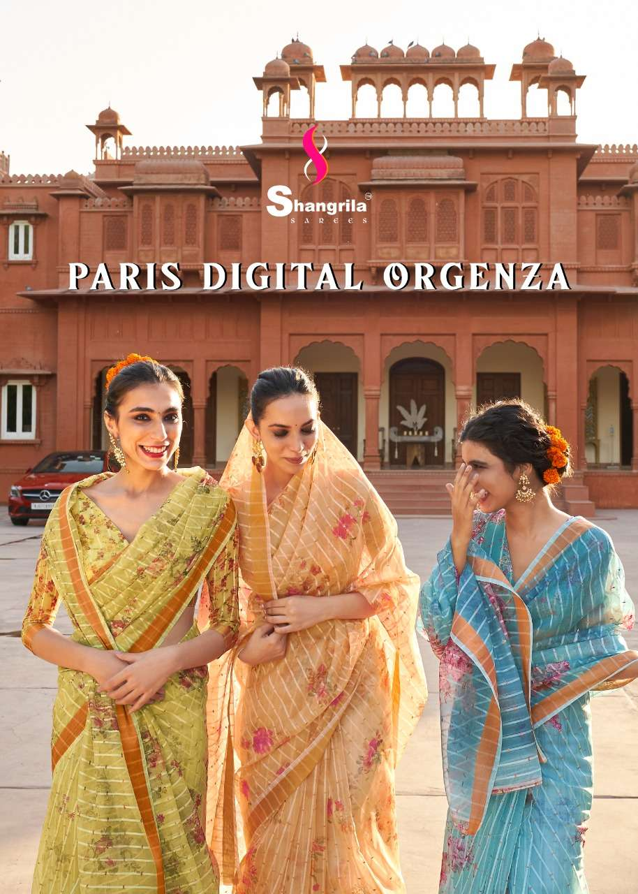 shangrila new paris digital orgenza series 70271 to 70278 fancy sarees collection