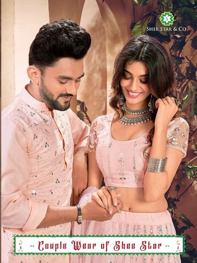 shee star couple wear festive collection of couple lehenga and kurta set exports
