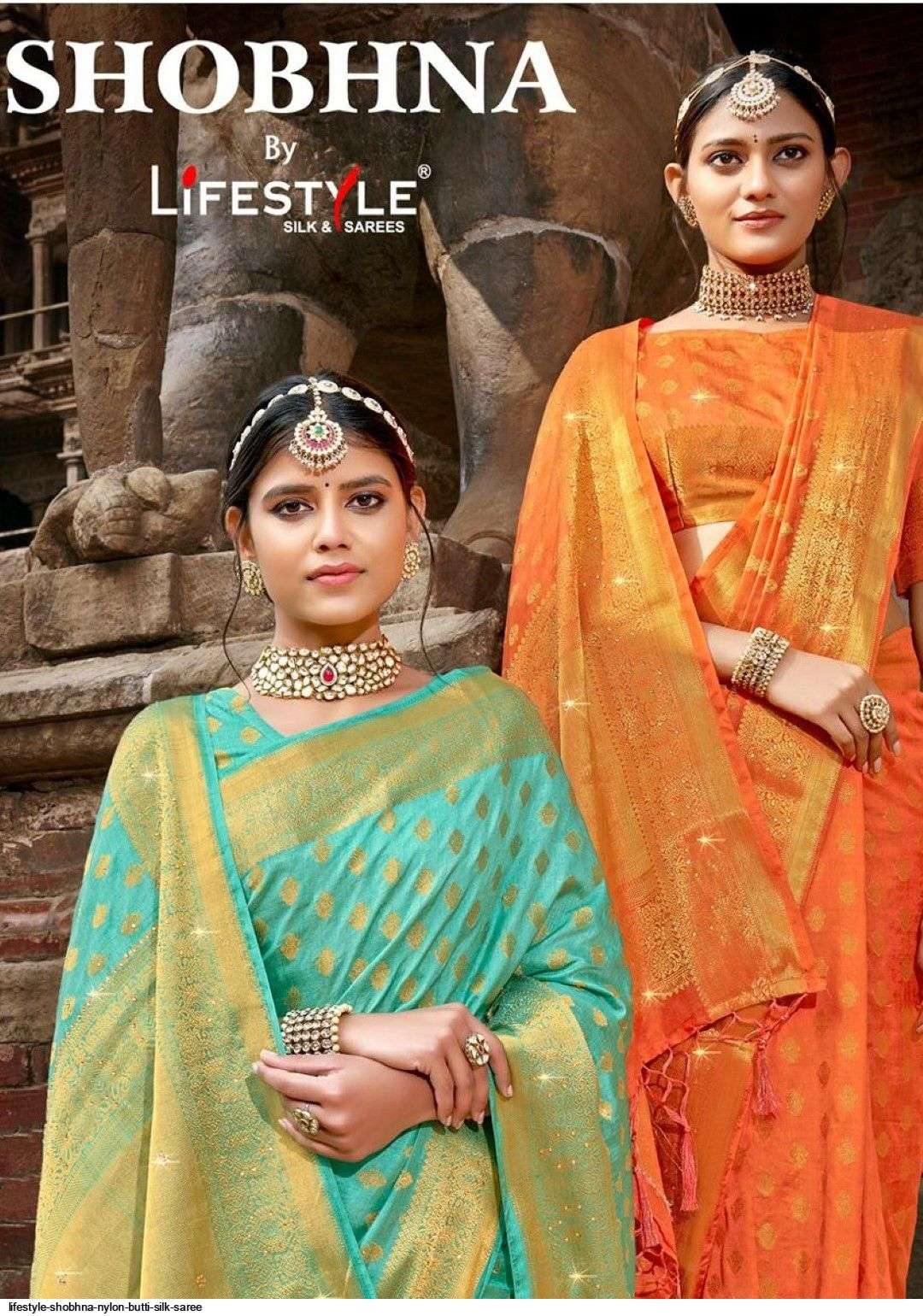 shobhna by lifestyle nylone silk traditional wear saree exporter