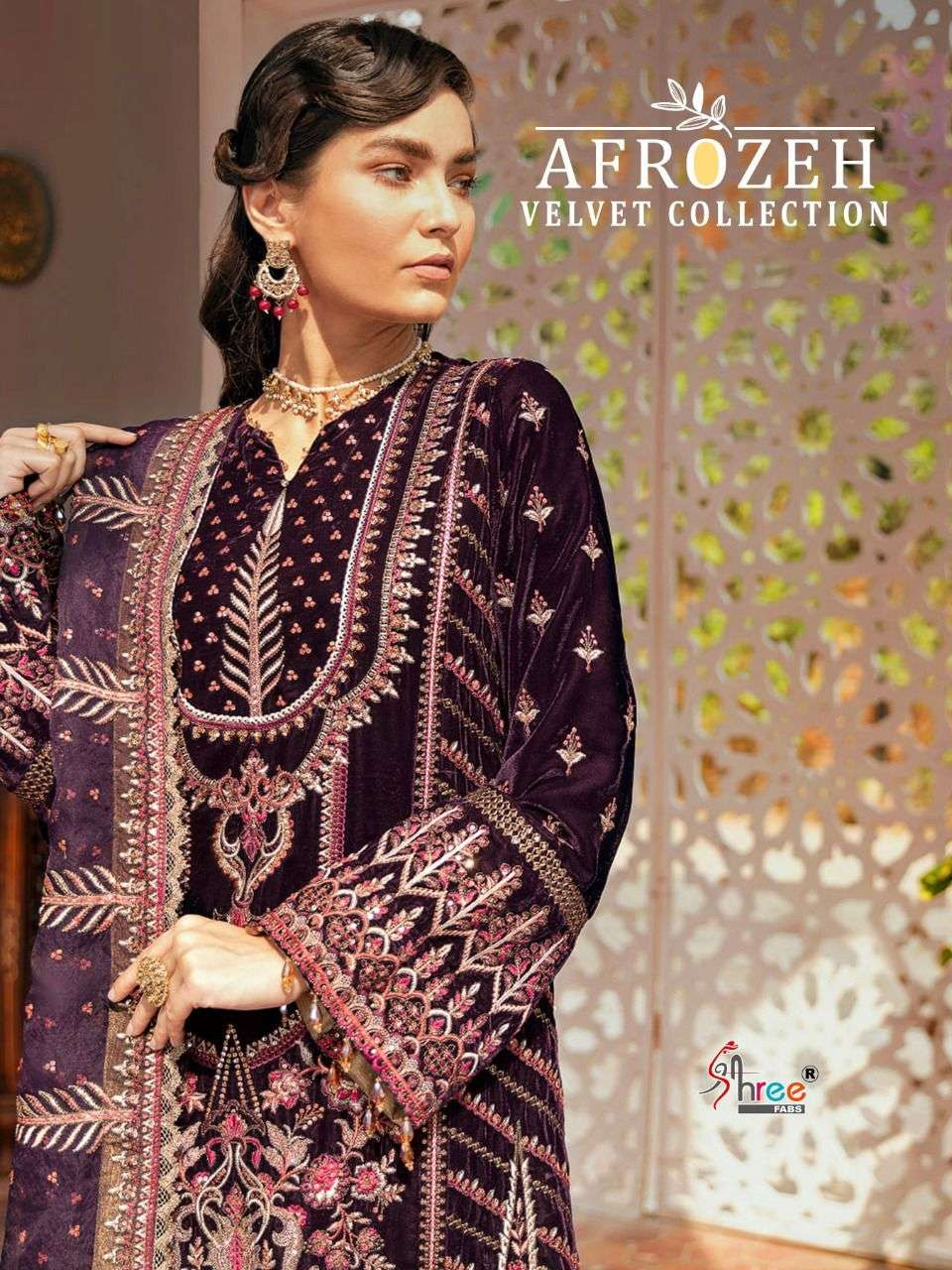 shree fabs afrozeh velvet winter pakistani designer suits