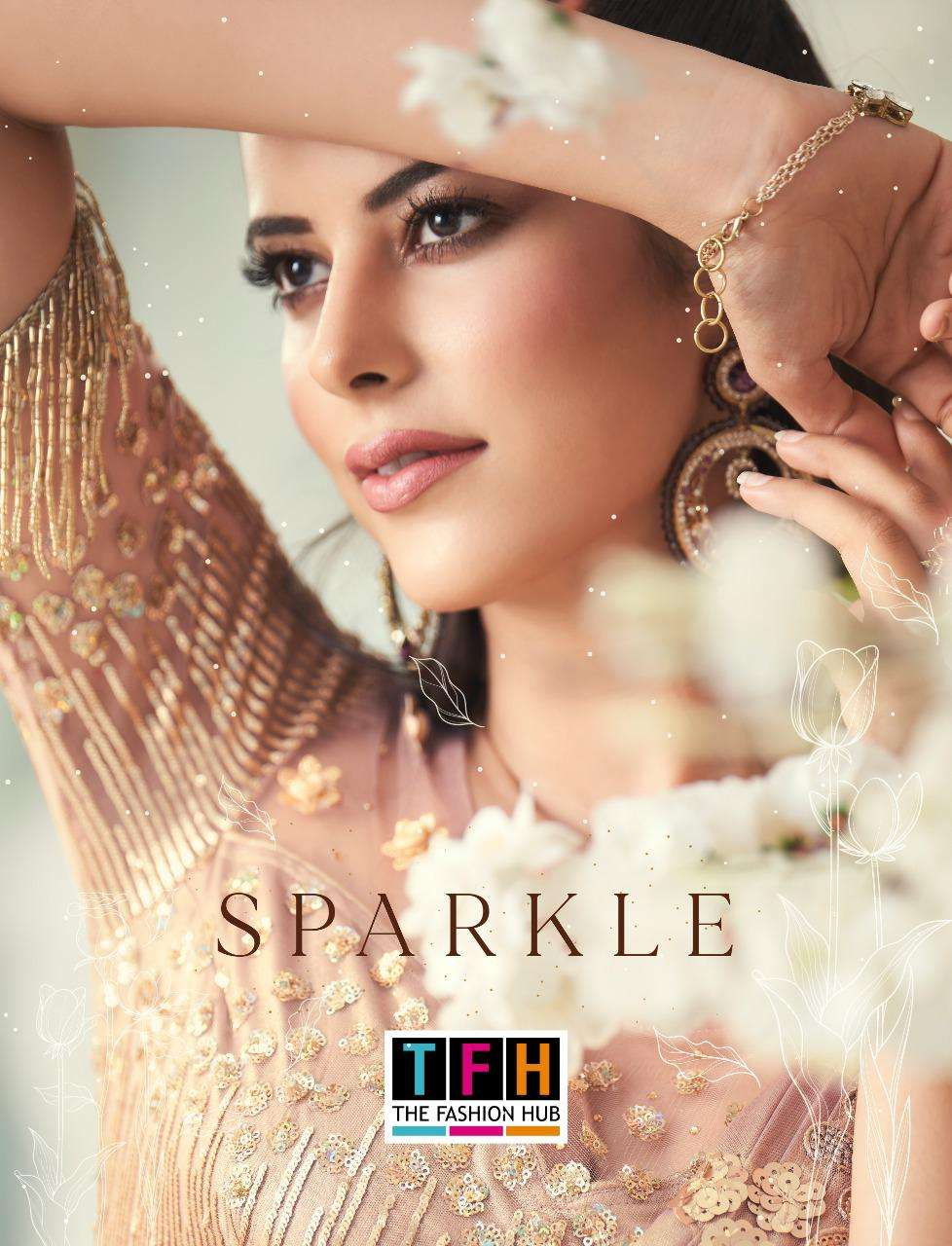 sparkle by tfh imported silk georgette wedding fancy sarees
