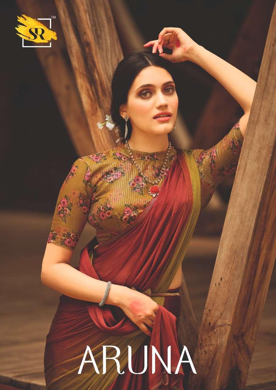 sr aruna 3d velvet chiffon with sequence blouse sarees collection wholesaler