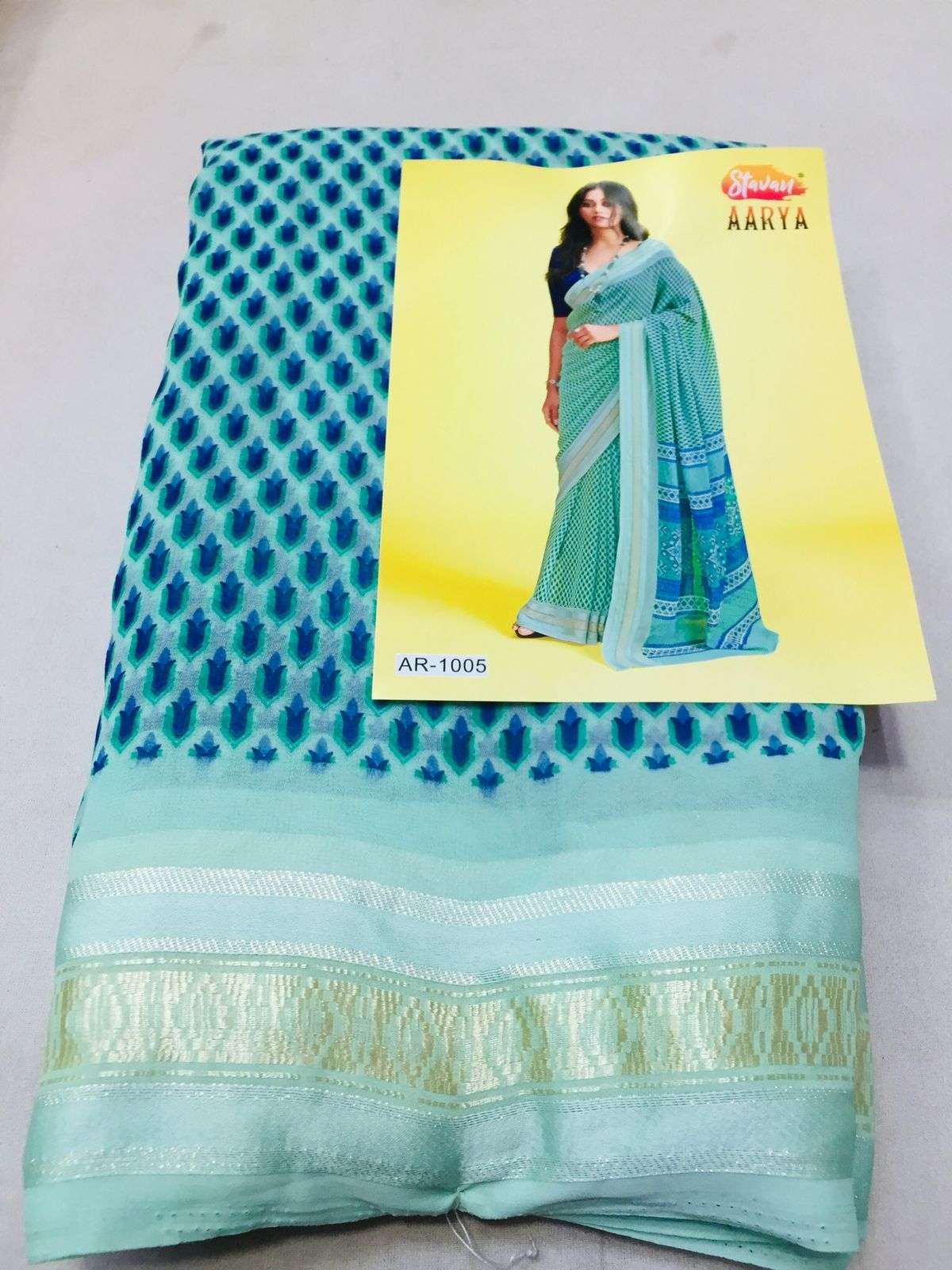 stavan aarya georgette saree with jacquard border concept wholesaler