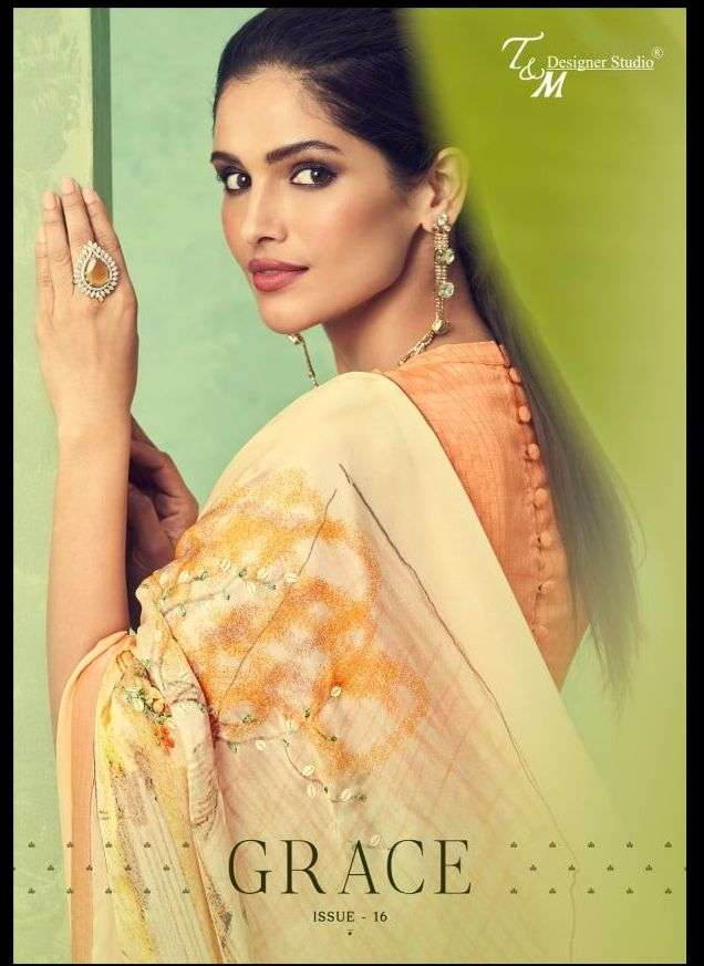 t and m designer grace vol 16 fancy designer saris wholesaler