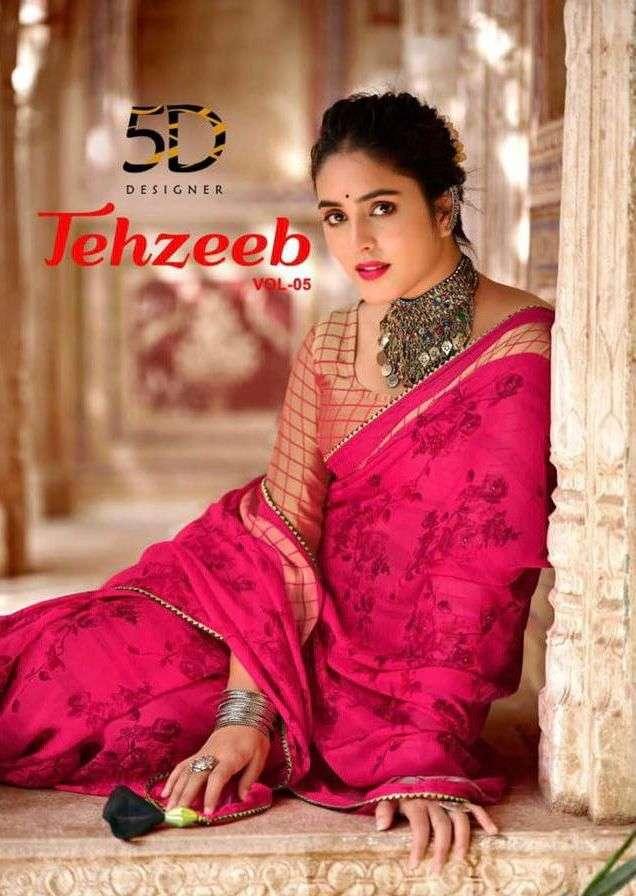 tehzeeb vol 5 by 5 d designer chiffon printed saris supplier