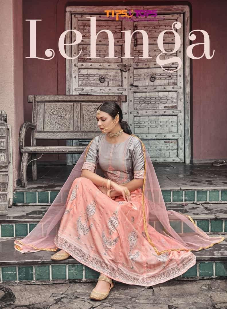 tips & tops lehnga chanderi silk crop top with skirt and dupatta