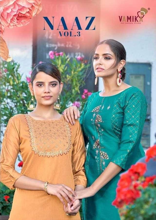vamika naaz vol 3 viscose silk designer kurti with plazzo wholesaler
