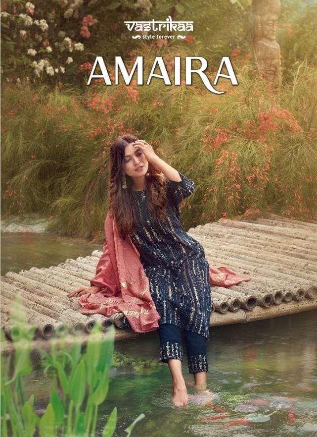 vastrikaa amaira designer kurti with pant and dupatta