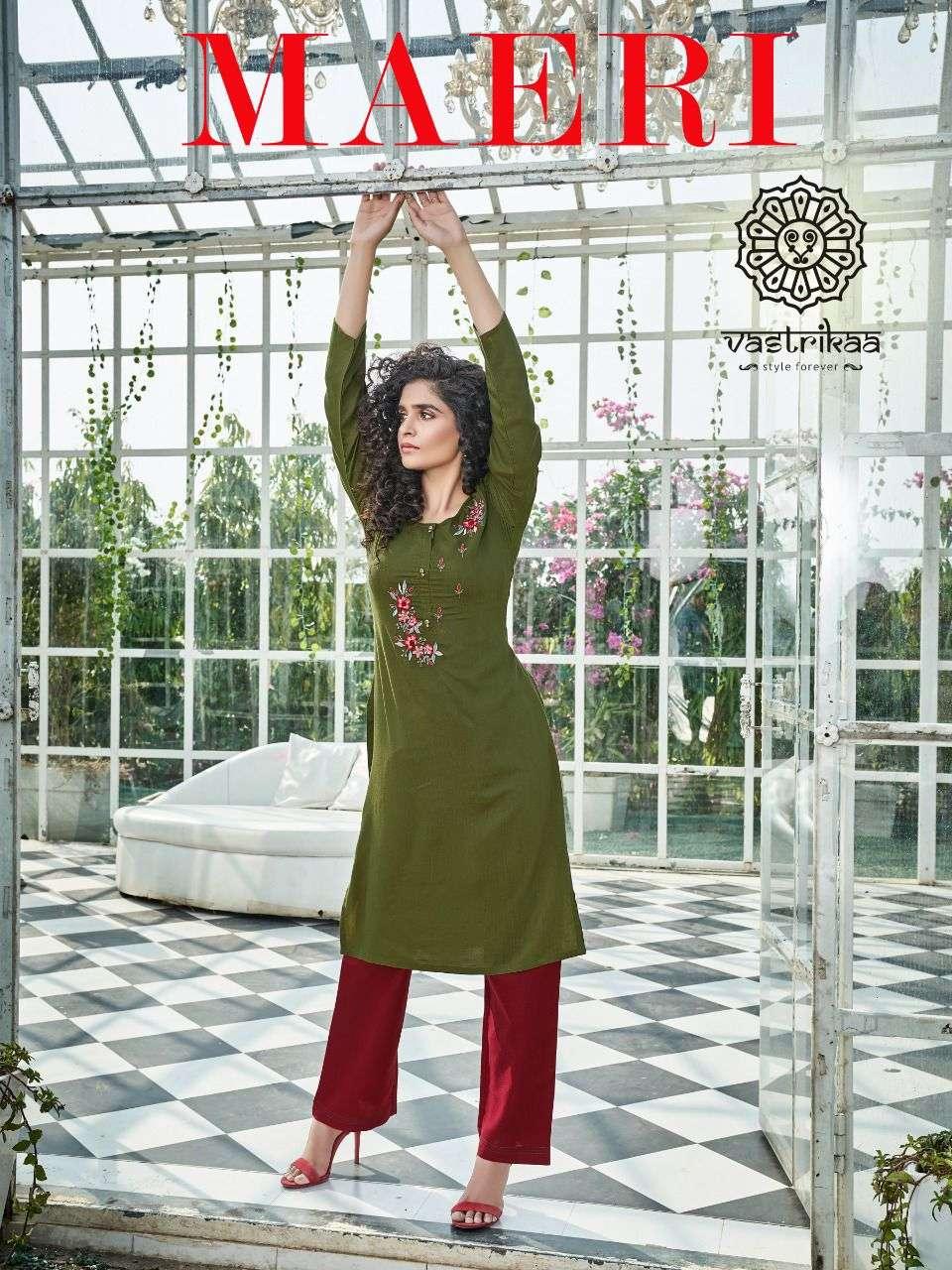 vastrikaa maeri viscose embroidery designer kurti with pant