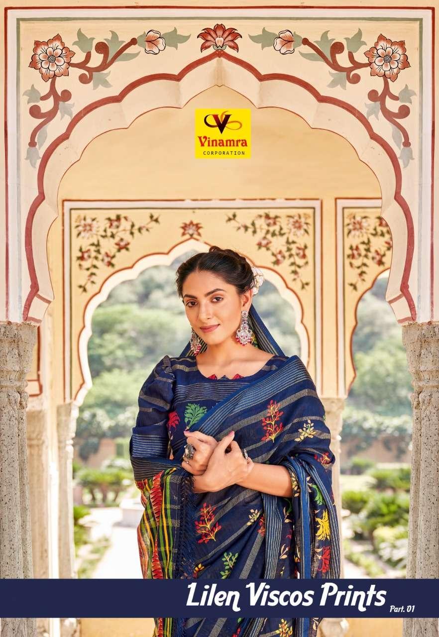 vinamra lilen viscose prints vol 1 linen saris wholesaler