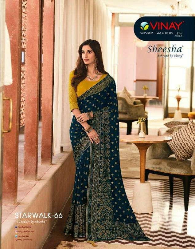 vinay sheesha starwalk vol 66 24181-24189 series georgette with foil work saris best rates