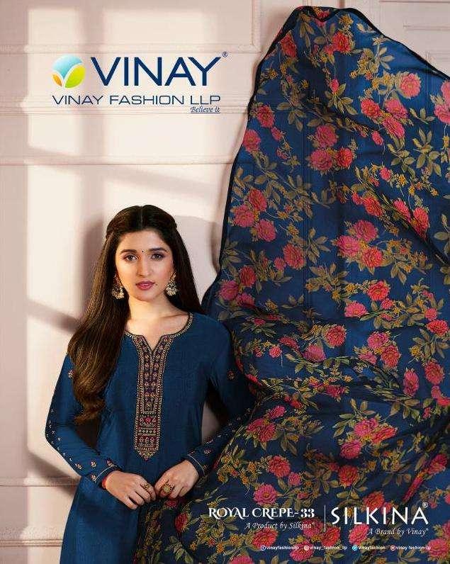 vinay silkina royal crepe vol 33 straight salwar suits design supplier