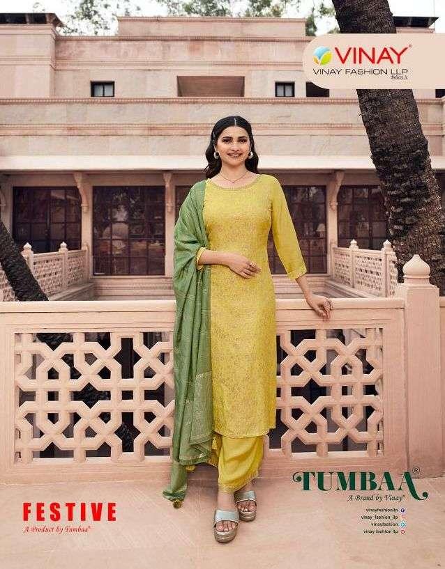 vinay tumbaa festive 39301-39308 series readymade kurti with plazzo and dupatta set