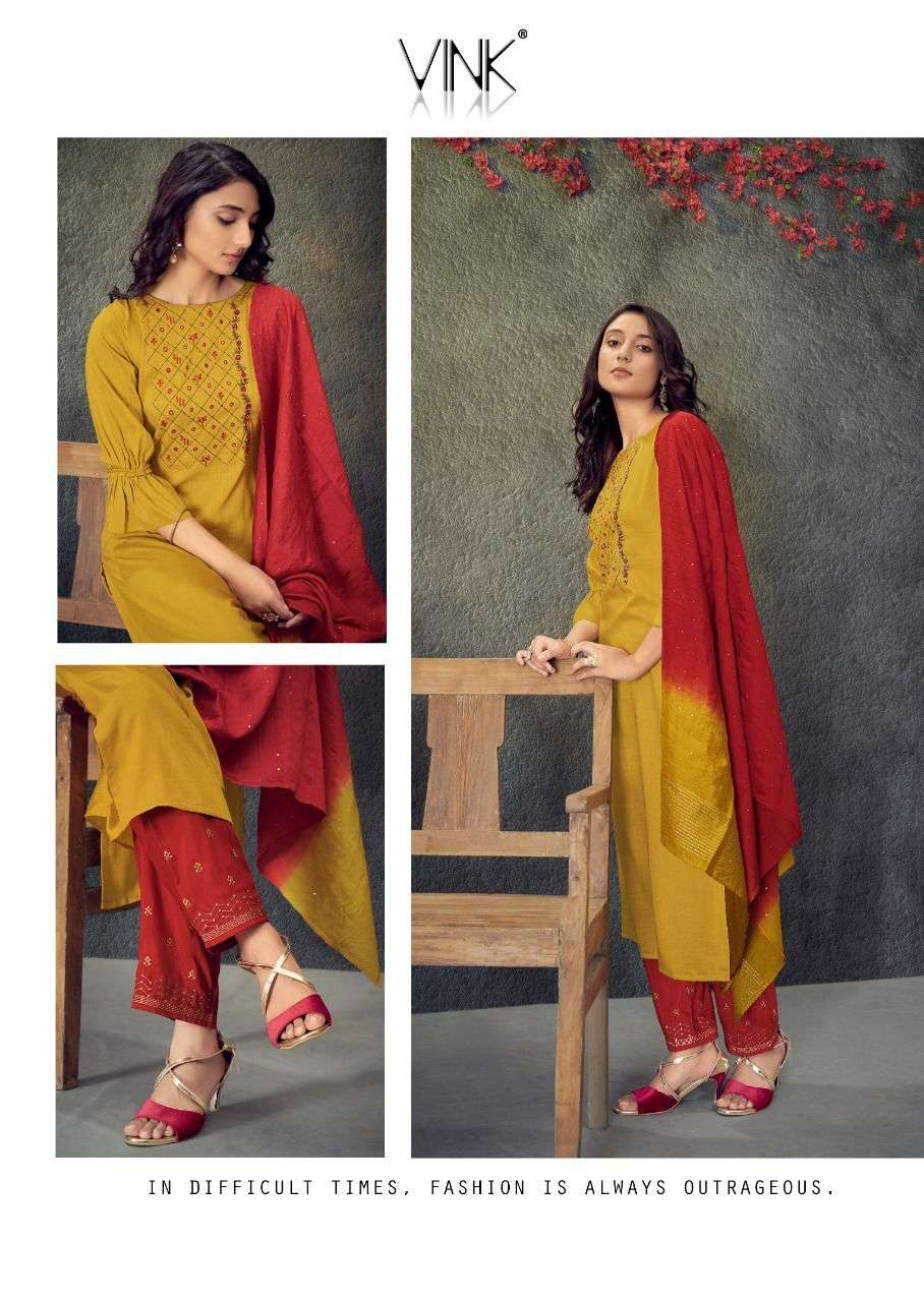 vink legacy vol 2 kurti with plazzo and dupatta complete set