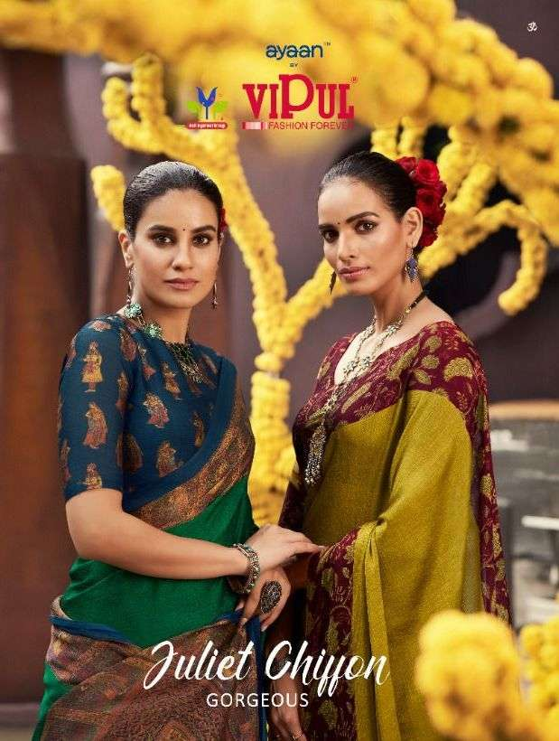 vipul juliet chiffon gorgeous printed fancy south india best saree supplier