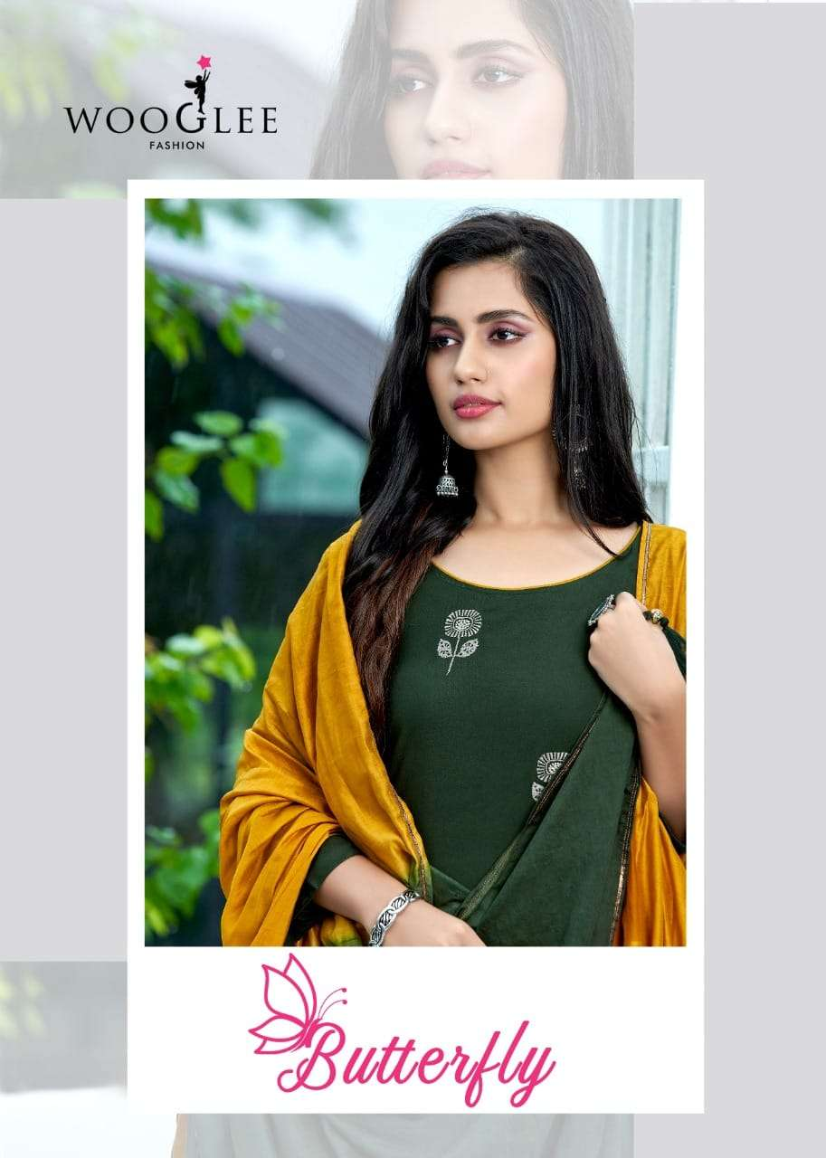 wooglee butterfly fancy kurti with bottom and dupatta set readymade online
