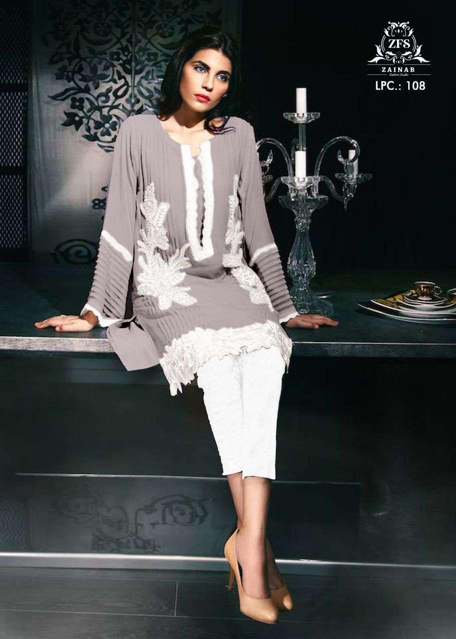 zainab fashion lpc 108 pure georgette pakistani kurti with pants