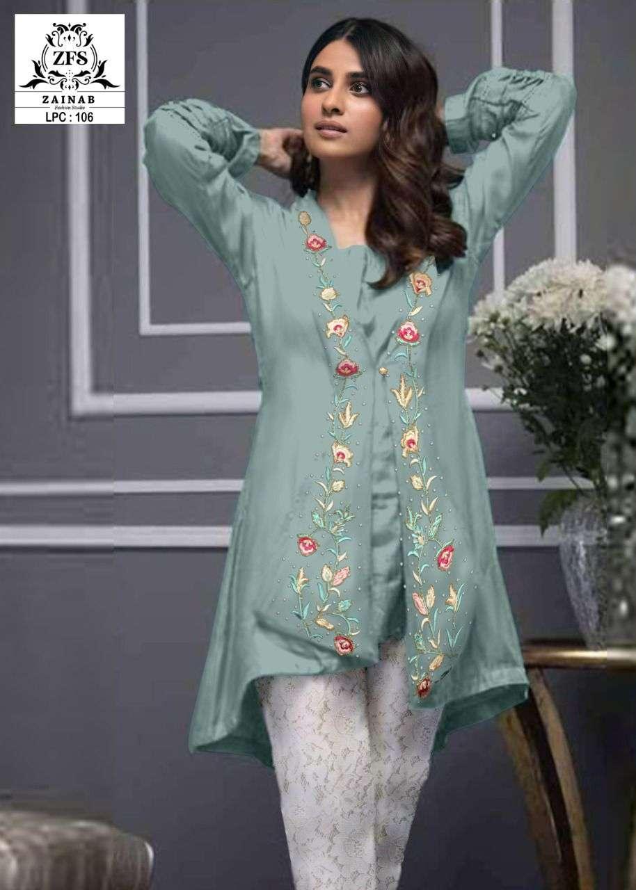 zainab fashion studio lpc 106 exclusive georgette pakistani kurti with bottom pair
