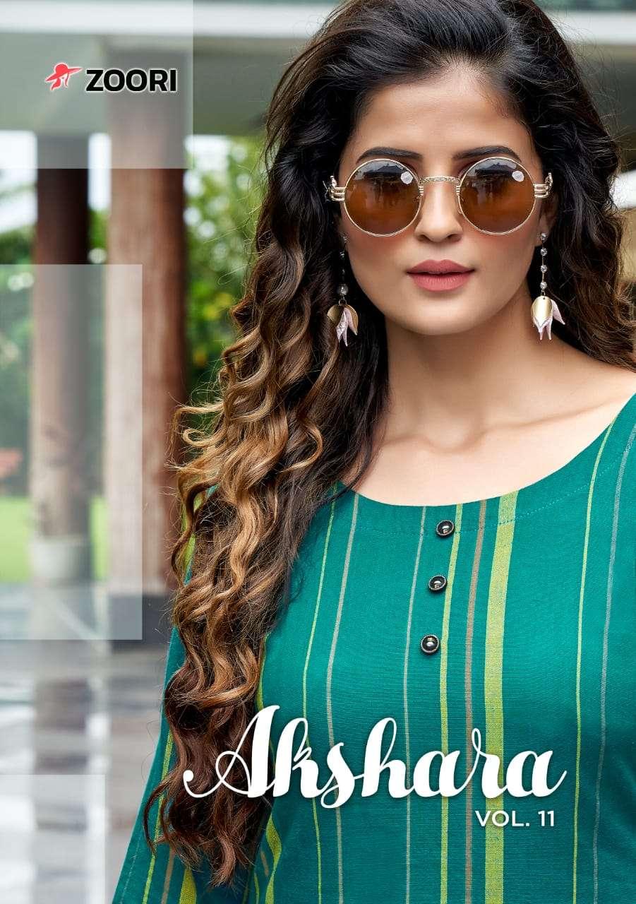Zoori launch akshara vol 11 printed rayon casual wear kurti