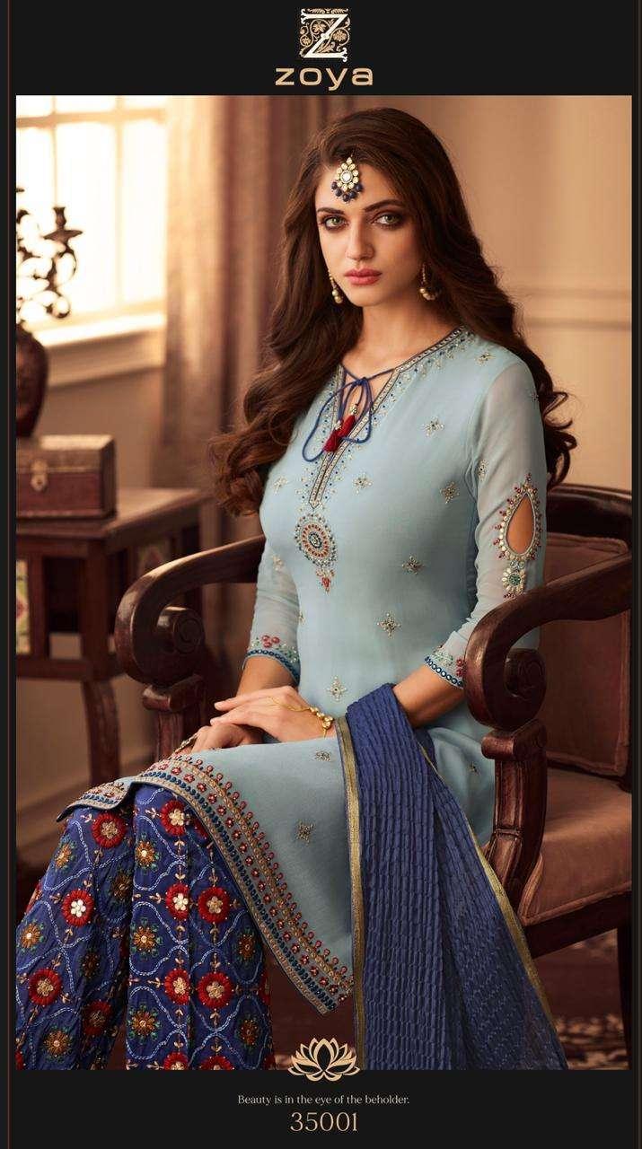 Zoya Present Elegance Uppada Designer Plazzo Bottom Party Wear Salwar Suit