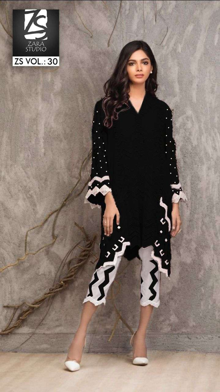 zs vol 30 by zara studion georgette pakistani party wear kurti with pant seller