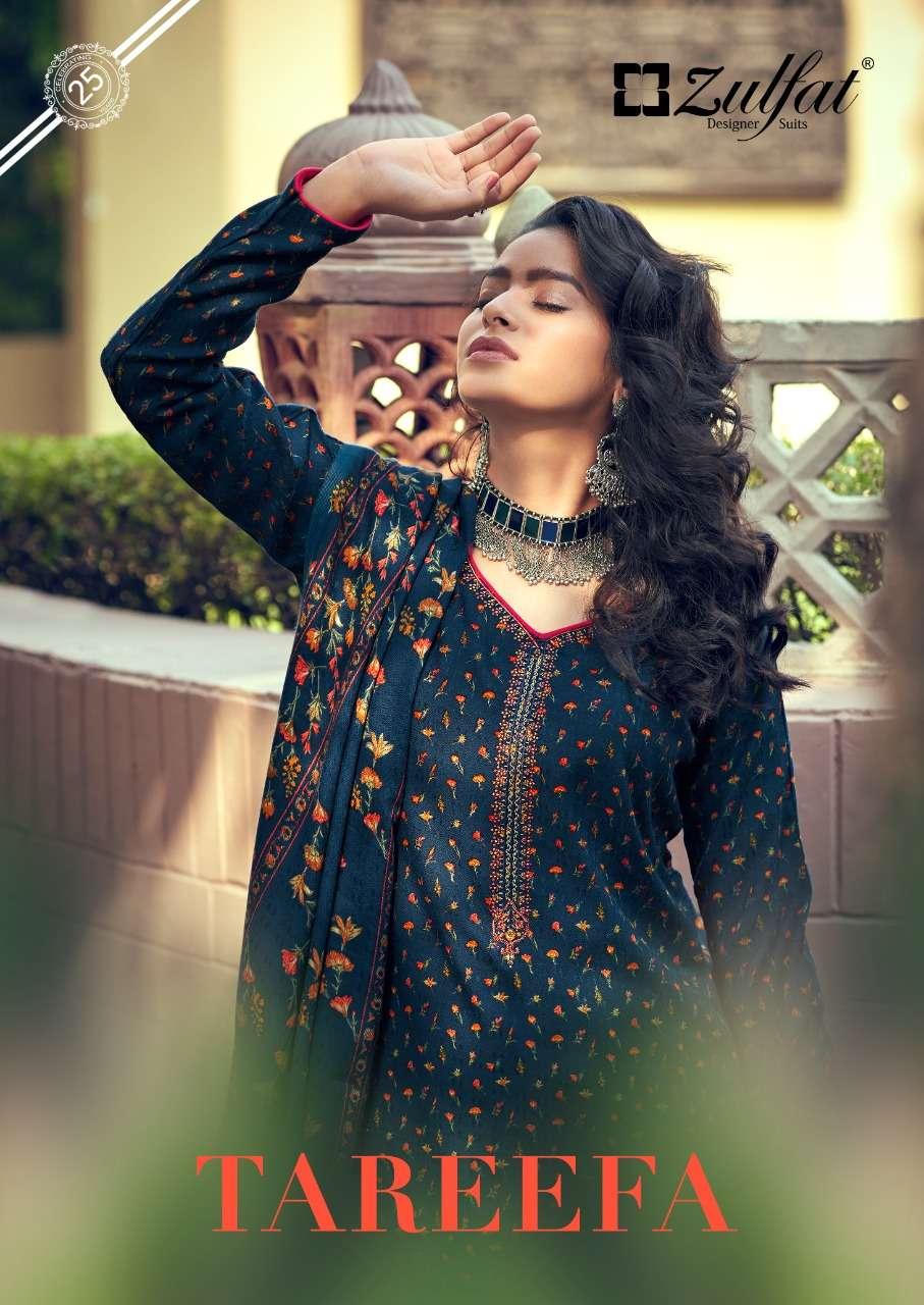 zulfat tareefa pashmina winter dress materials with 3mtr bottom